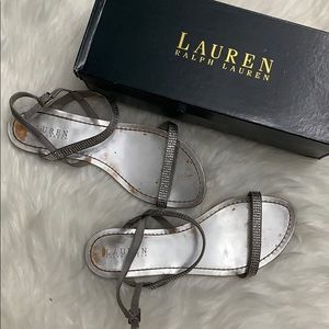 {Ralph Lauren} Metallic Rhinestone Strappy Sandals